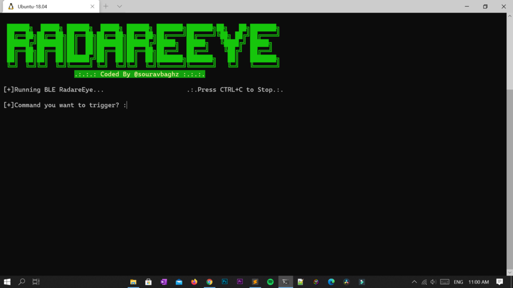 RadareEye – A tool made for specially scanning nearby devices [BLE,Bluetooth & Wmadeifi] and execute our given command on our system when the target device comes in between range.